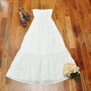 White Strapless Boho Western Eyelet Lace Dress M